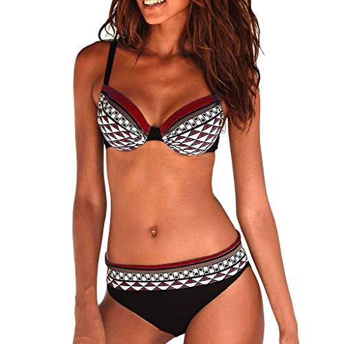 Riou Sexy Bikini Damen Set Push Up High Waist Zweiteilige Bikinis Oberteil Frau Sommer Sportlich Kleine Brüste Cups Grosse Grössen Bademode Tankinis mit Bügel für Beach Monokini (Wine, M) -