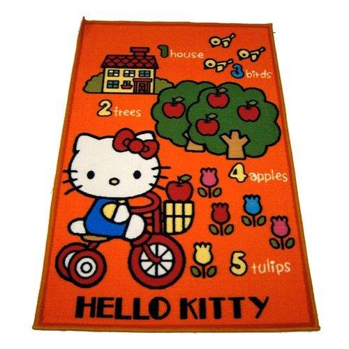 Hello Kitty Alfombra infantil, 80 x 120 cm, diseño de bicicleta naranja