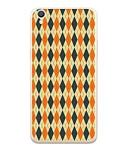 PrintVisa Designer Back Case Cover for Oppo A37 (diamond shaped grey orange lovely )