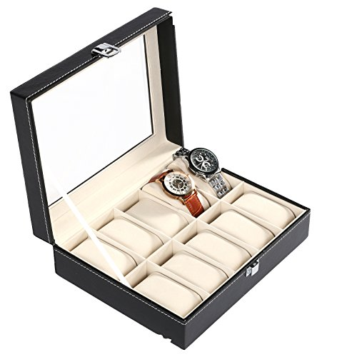 Scallop Neue Uhrkasten Uhrenbox Kunstleder Uhrenkoffer Uhrenschatulle Uhrenaufbewahrung Schwarz mit Glas Top und Removal Storage Kissen (für 10 Uhren)