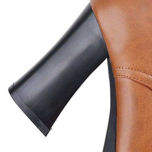 VogueZone009 Donna Puro Bassa Altezza Tacco Alto Stivali con Ornamento Di Metallo Marrone