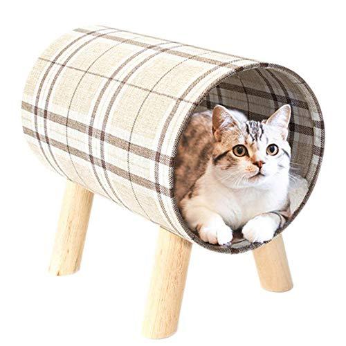 KNXIDR Haustier-Katzen-Bett, atmungsaktiv Durable Leinen Zylinder Haus, bewegliches Sofa Holz Katze Hocker Nest, Abnehmbarer Holzzylinder Cozy atmungsaktiv für Indoor Outdoor -