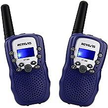 Retevis RT388 Walkie Talkies Niños PMR446 8 Canales LCD Pantalla Función VOX 10 Tonos de llamada Bloqueo de Canal Linterna Incorporado (Azul oscuro, 1 Par)