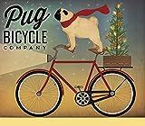 TELA-ARROTOLATA.Fowler-Ryan-Cm_53_X_63-Pug-su-una-bici-animale-animali-bici-bicicletta-blu-natale-cane-christmasfloraltree-vacanza-verde-illustrativo-giovanile-pug-pugfloralbicyclefloralcompany-rosse