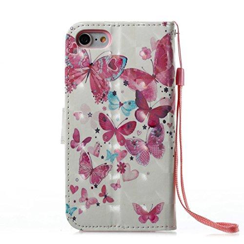 Custodia iPhone 6 Plus/iPhone 6s Plus (5.5), EUWLY Flip Cover Leather Wallet Case Custodia per iPhone 6 Plus/iPhone 6s Plus (5.5) in PU Pelle, Bling Bling Custodia Cover con Ultra Sottile Interno Si Farfalla Blu Rossa