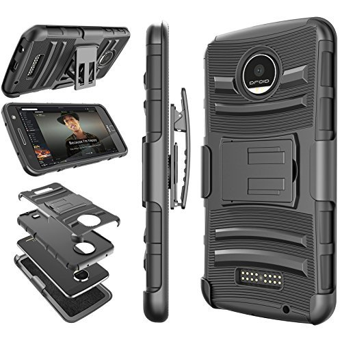 Moto Z Play Schutzhülle, Moto Z Force Gürtel, tekcoo [Hoplite Midi], Locking Clip Defender Full Body Ständer, der Armor Fällen Cover für Motorola Moto Z Force/Play Droid
