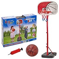 Flicker Free Standing King Sport Kids Basketball Hoop Net Set Backboard Stand Children
