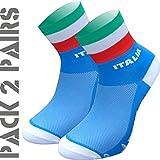 TKS Confezione con 2 Paia di Calzini Italia, Ciclismo, Corsa, Triathlon, Golf e Sport in Generale. Taglia M (40-42)