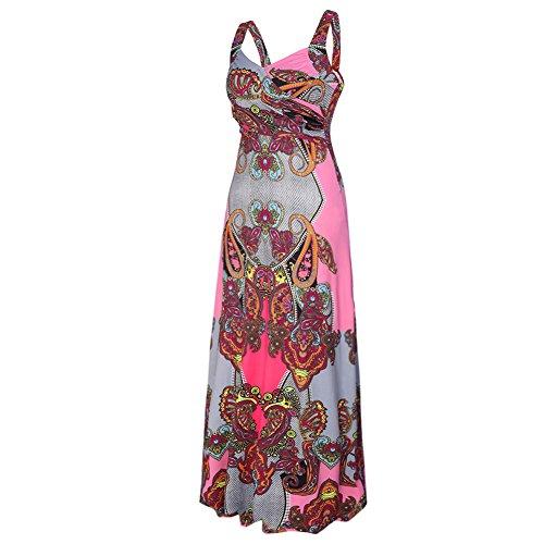 CoCo Fashion Damen Sommerkleid Ärmellos Bohemian Style Maxikleid im modischen Ethno-Look Z603_Rot