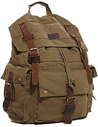 c614c8a204 Koolertron Borsa Zaino Backpack Rucksack Cartella a Spalla Tracolla Cachi  in Tela Pelle Cuoio Uomo Donna