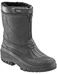 Mens Ladies Mukker Fully Lined Showerproof Horse Riding Mucker Stable or Snow Winter Ski Wellie Boot with Easy Front Zip and Fastening in Red, Black and Brown.