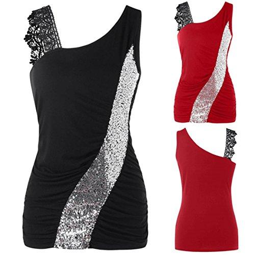 Bellelove Femmes Tank Shirt Dames de Mode Dentelle Étincelant 2018 Mode Skew Col Paillettes Débardeurs Tops sans Manches Gilet de Dentelle pour Fille