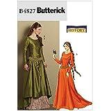 Butterick 4827 - Patrones de costura para confeccionar vestido medieval (tallas 40, 42, 44 y 46)