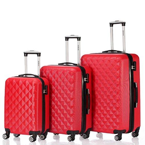 BEIBYE Kofferset 4 Zwillingsrollen Hartschale Trolley Koffer Reisekoffer Reisekofferset Gepäckset in 12 Farben (Rot)