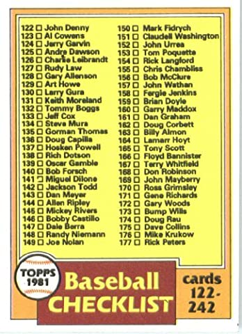 1981 Topps # 241 Checklist No. 2 -- -- Baseball Card