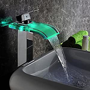 Moderne LED Wasserfall Wasserkraftwerk Glas Waschbecken Wasserhahn Chrom-Finish (groß)