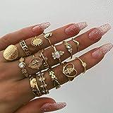 Simsly - Set di anelli da nocca vintage con strass, per donne e ragazze