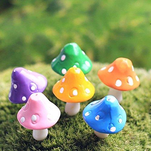 Nalmatoionme 5 pcs mignon Champignon Résine Craft Plante pour jardin Ornement (couleur aléatoire)
