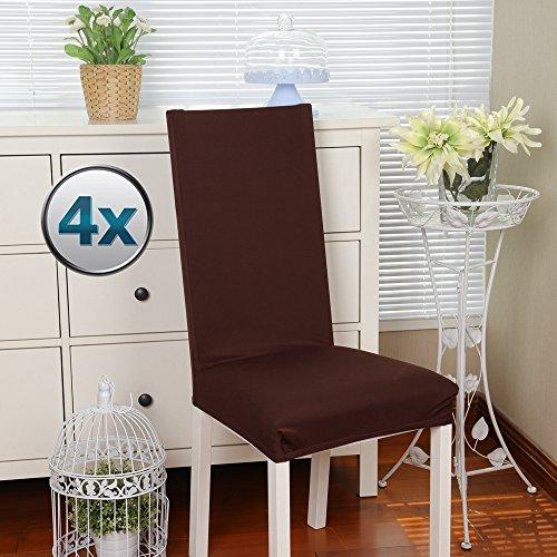 BalladHome Stuhlhussen 4 Stück, Stretch-Stuhlbezug elastische Moderne Husse Elasthan Stretchhusse Stuhlbezug Stuhlüberzug bi-Elastic Spannbezug, sehr pflegeleicht und langlebig Universal- Braun