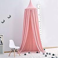 Cama con Dosel para Niños,Princesa de Dosel de la Cama, 100% Algodón Mosquitera Para Cuna Niña, Cambio de Imagen Chicas Dormitorio Altura 240cm (Rosa)