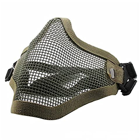 QMFIVE Tactical Airsoft Masks Steel Mesh Half Face Mask Protective (Army Green)