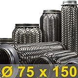 Flexrohr | Flexstück | Flexteil | Flexibles Rohr | Auspuff | Auspuffrohr | Mitteltopf | Endtopf | Hosenrohr | Abgasrohr | Drahtgeflecht | Flexschlauch | Universal (Innen Ø 75mm, Gesamt 150mm)