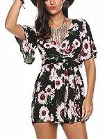 Meaneor Women Boho Style V-Neck Flare Sleeve Belted Floral Print Romper Playsuit Black Medium