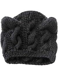 47b027006527 Susenstone Femme Chapeau Tricot De Fleurs De Chanvre Chat Oreille Mode  Mignon Hiver Chaud Bonnet Slouchy