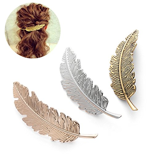 DWE Feather Hair Clips, 3Pcs Lea...