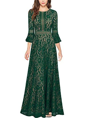 Miusol Damen Trompete Armel Spitzen Hochzeit Kleid Cocktail Maxi Abendkleid  Grün XL b283aa3418