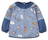 HAPPY CHERRY Kinderschürze mit Ärmel Baumwolle Ärmellätzchen Lätzchen mit Wasserdichte Einsatz für Baby Kleinkind - Bären Blau Größe 90 für 1-2 Jahre alt