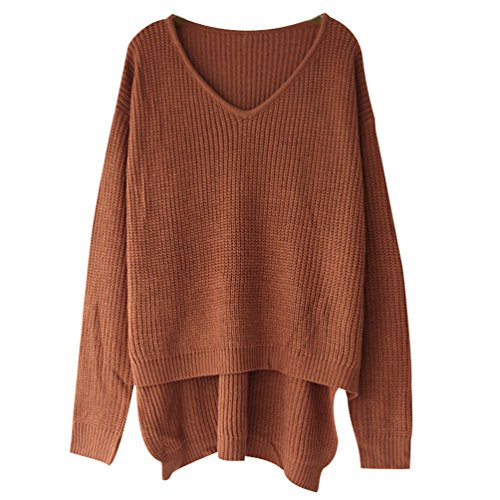 Pull Maille Femme Pull Manches Longues Col V Ample Chaud Epais Pull Oversize Épaules Dénudées Sweater Loose Large Tricot Chandail Jumper Chandails Tops Casual Automne Hiver Kaki