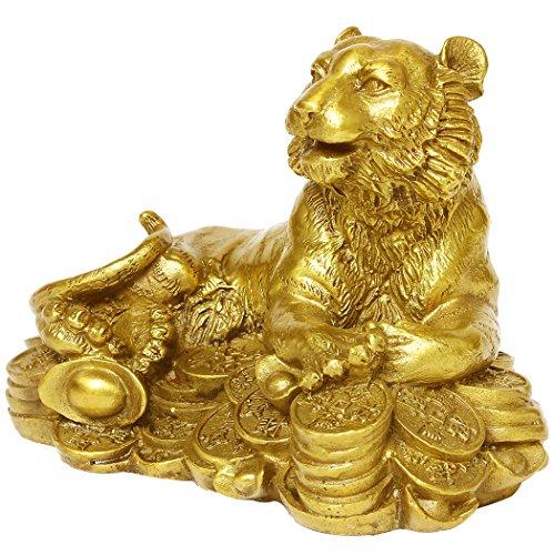 Chinese Kunsthandwerk Handmade Messing Geld Tiger Dekoration Geschenk Golden Finish Sammlerstück Figuren BS033