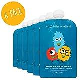 Hochwertige Quetschbeutel zum Befüllen (6er pack) von Hello Little Monsters - BPA frei - Einfach zu füllen & reinigen - Für alle Kinder - Ideal beim abstillen sowie für Bio-Lebensmittel, hausgemachte Babybreie, Yoghurt oder Smoothies - ideal für Reisen