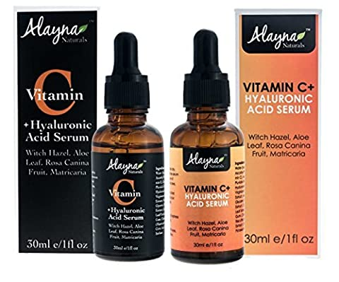 Alayna Naturals Enhanced Vitamin C Serum with Hyaluronic Acid 1 Oz - Top Anti Wrinkle, Anti Aging & Repairs Dark Circles, Fades age spots & Sun Damage-20% Vitamin C Super Strength-Organic ingredients by Alayna (Enhanced Natural)