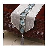 Tischdecke Bett Flagge Neue Chinesische Moderne Gartentisch Couchtisch Betttuch Cord Einfache Mode (Farbe: Hellgrau, größe: 33 * 300 cm)