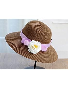 estate femminile cappello di paglia fiore spiaggia cappello cappello da sole Mare protezione solare esterna (...