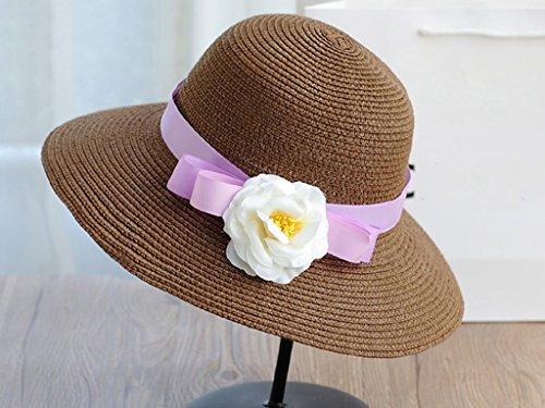 Été féminin Fleur paille chapeau Chapeau de plage Chapeau de soleil de plage Protection solaire extérieure ( couleur : 14 ) 14