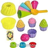 Sandspielzeug: 1 Kuchen-Sandform + 5 Eistüten + 1 Portionierer + 8tlg. Cup Cake Sandförmchen Sandkasten Kindergarten