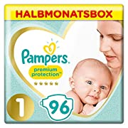 Pampers Premium Protection New Baby Windeln, Gr. 1, 2-5 kg, Halbmonatsbox, 1er Pack (1 x 96 Stück)