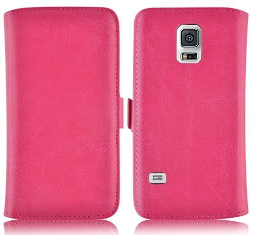 JAMMYLIZARD Für Samsung Galaxy S5Mini, Schutzhülle Galaxy S5Mini Schutzhülle Deluxe Lederoptik Range Karten Magnetverschluss, Rosa Fuchsia -