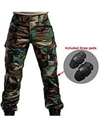 Worldshopping4U Hombres Shooting BDU Combate Pantalones Camuflaje del ejército Pantalones con Rodilleras para ejército Militar Airsoft