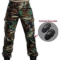 WorldShopping4U Hommes BDU Tournage Combat Pantalons Pantalon avec Genou Coussinet Woodland Camo pour Tactique Militaire Armée Airsoft