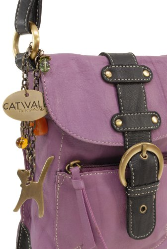 Umhängetasche Jodie aus Leder von Catwalk Collection - GRÖßE: B: 16-19 cm, H: 23 cm Mauve (Violett)