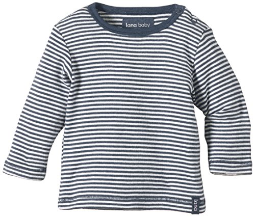 Lana Natural Wear Unisex - Baby T-Shirt Jule, Gestreift, Gr. 86/92, Mehrfarbig (Indigomelange/Natur 116) -