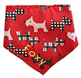 Spoilt Rotten Pets Personalised Designer Red Scottie Radley Style Dog Bandana - Size 2 - Fantastic Quality Adjustable Design - For Small To Medium Breeds Of Dog