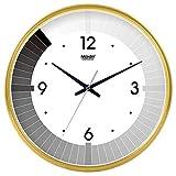 Wanduhr Stille Bewegung Wanduhr Home Office Dekor für Wohnzimmer Schlafzimmer und Küchenuhr Wand Stilvolle Schwarz-Weiß-Stummschaltung Kreativer Quarz-Uhr-Klavier-Klavier 10 Gold-135