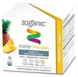 Zoganic fruitZip Herbal Supplement Drink Mix for Digestive Support – Organic Probiotics&Enzymes, Gingembre, Papaya Straight from the Fruit with Pineapple Flavor. Sweetened with Stevia – 15 Powder Sachet