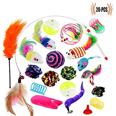 Legendog Cat Toy Set - 20PCS Kitten Toys Indoor Cats Cat Catnip Toys Cat Balls Cat Feathers Wand Toys Special Kitty Cats