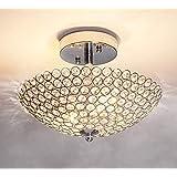 Wtape home Modern 2 Light Small Clear Crystal Beads Bowl Shaped Chrome Finish Metal Base Crystal Ceiling Light, Semi-Flush Mo